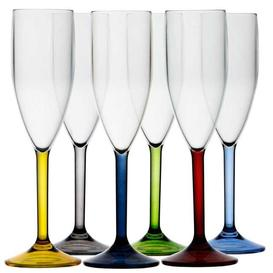 Ensemble de 6 Flutes à Champagne-Base colorée Party-Marine Business (16703)