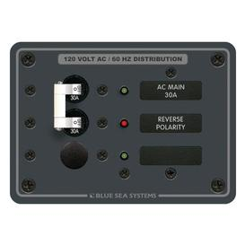 Traditional Metal Panel - AC Main + 1 Positions- Blue Sea (8029)