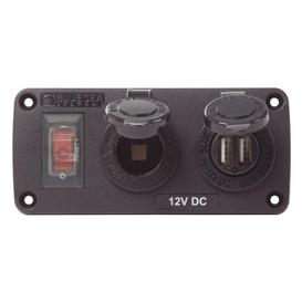 Water-Resistant Accessory Panels - 15A Circuit Breaker, 12V Socket, 2.1A Dual USB Charger,Blue Sea (4363)