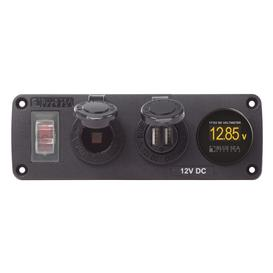 Water-Resistant Accessory Panel - Circuit Breaker, 12V Socket, Dual USB Charger, Mini Voltmeter(Blue Sea 4366)